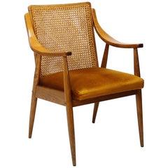 Mid-Century Modern  Danish Style Cane Back Armchair 1960s