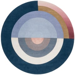 Bliss Round Blue by Mae Engelgeer in Himalayan Wool, Cotton Weave and Pure Silk