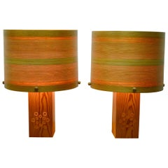 Vintage Pine Table Lamps with Veenered Shades, Set of 2