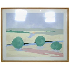 Mid-Century Modern Watercolor Painting Signed by Artist