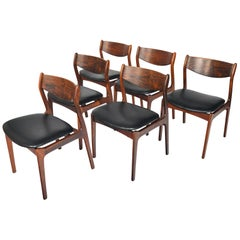 Set of Six P.E. Jørgensen Rosewood and Leather Dining Chairs