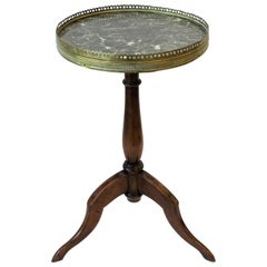 French Tripod Brass and Marble Side or Drinks Table