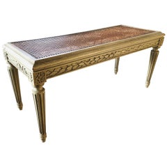 19th Century French Antique Hand Carved and Painted Cane Bench, Louis XVI Style