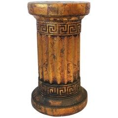Gilt Column Pedestal Side Table with Greek Key Design