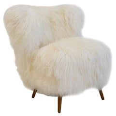 White Lambskin Upholstered Lounge Chair, circa 1950