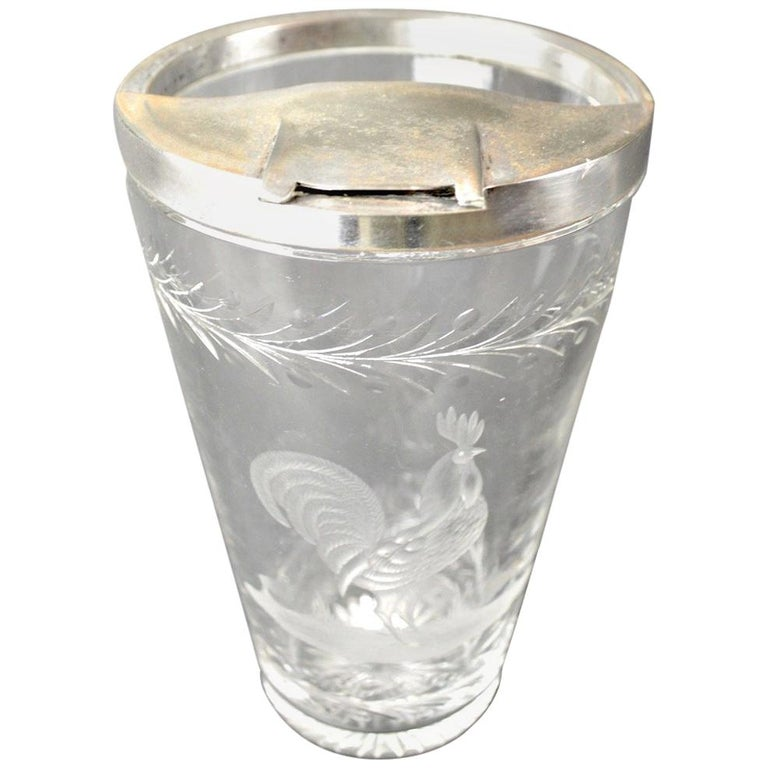 Art Deco Etched Glass Cocktail Mixer with Rooster Motif For Sale