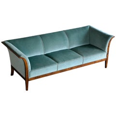 Frits Henningsen Classic Sofa in Flamed Birchwood with Original 1938 Invoice