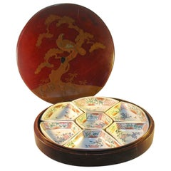 Japanese 7-Pcs, Arita Sweetmeat Set & Matching Lacquer Box Meiji Period, 1880s