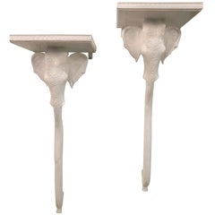 Vintage Gampel and Stoll Pair Elephant Wall Sconce Shelves Shelf Lacquered White