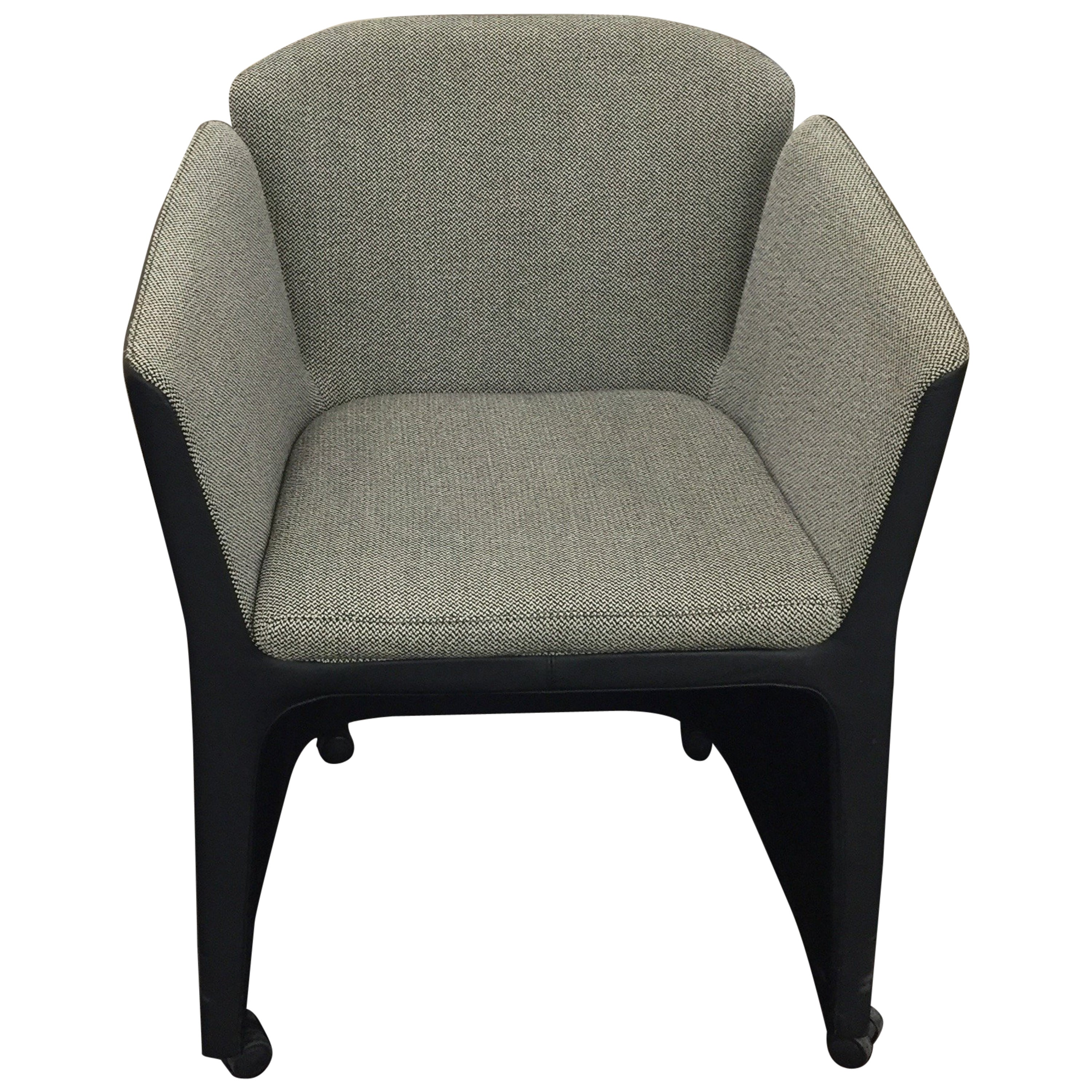 Montis Fauteuil Castor.Montis Set Of Six Lotus Armchairs On Casters In Fabric And Leather