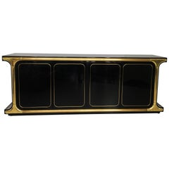 Glamorous Mastercraft Black Lacquer and Brass Credenza