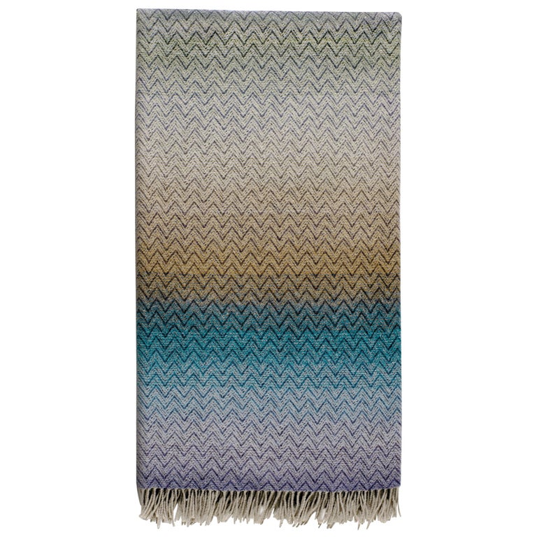 MissoniHome Pascal Throw in Multi-Color Blue and Beige Gradient Chevron Print