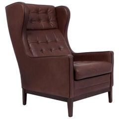 Danish Leather Wing Chair, circa 1960