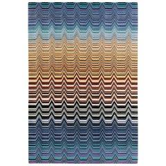 MissoniHome Saguaro Rug in Blue and Orange Multi-Color Chevron Print