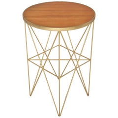Monterey Tall Side Table with Honey Lacquered Top by Badgley Mischka Home