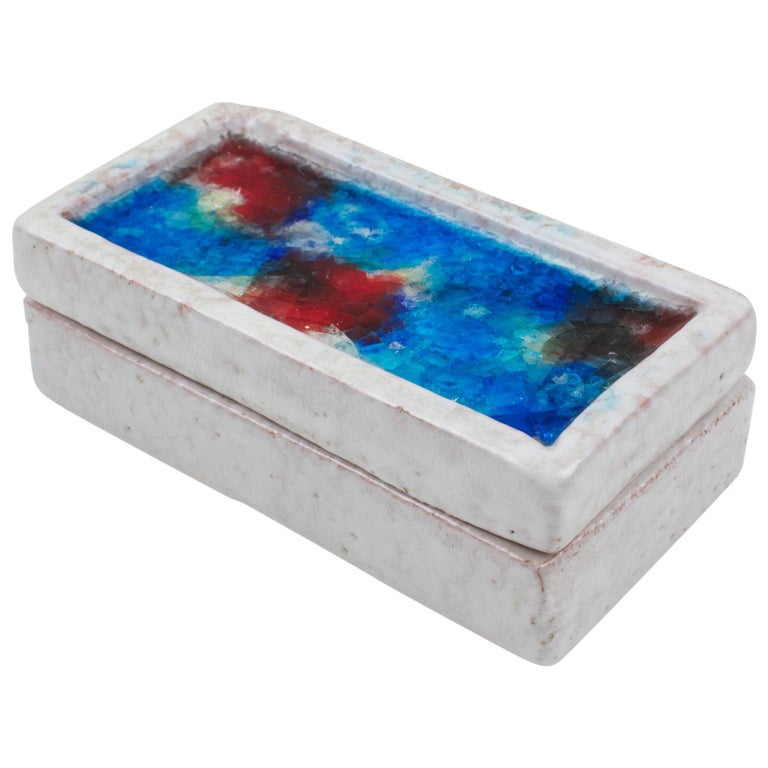 Bitossi Italy Raymor Ceramic Box Fritte Fused Glass Mosaic MCM Colors For Sale