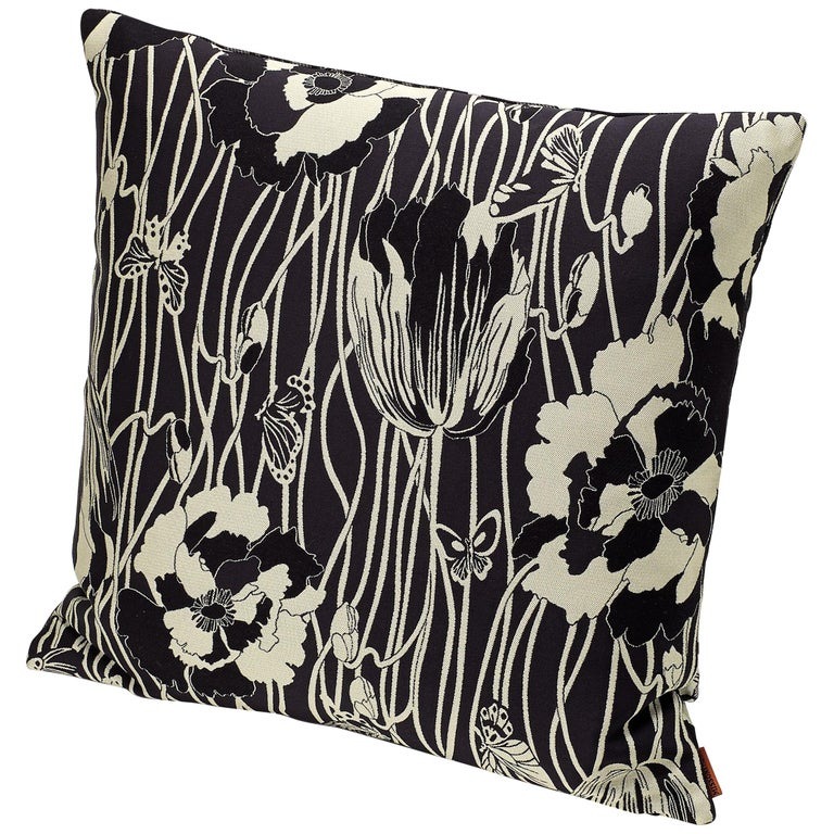 MissoniHome Vail Cushion in Black & White Floral Print