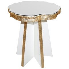 Palisades Accent Table I in Cloud White & Tempered Glass by Badgley Mischka Home