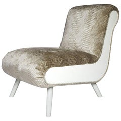 Casablanca Slipper Chair in White Wood and Silver by Badgley Mischka Home