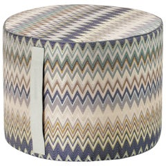 MissoniHome Masuleh Cylinder Pouf with Multicolor & Blue Chevron Print