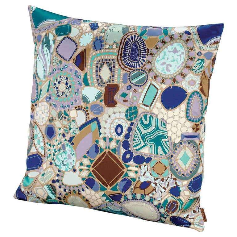 MissoniHome Prepignan Cushion with Multicolor Blue Jewel Print
