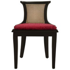 Marmont Game Table Chair in Ebony & Crimson by Badgley Mischka Home