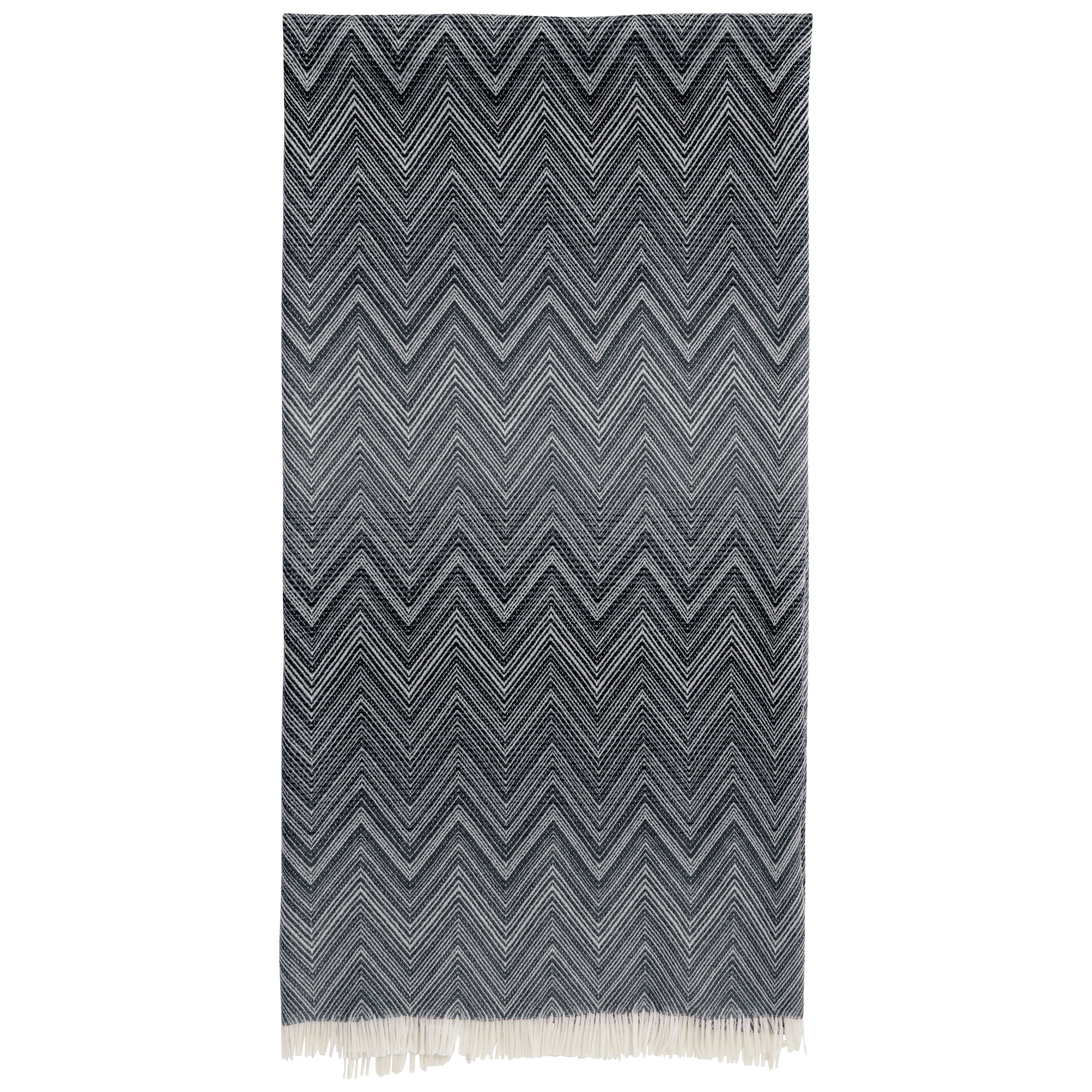 Missoni Home Timmy Throw in Black & White Chevron Print