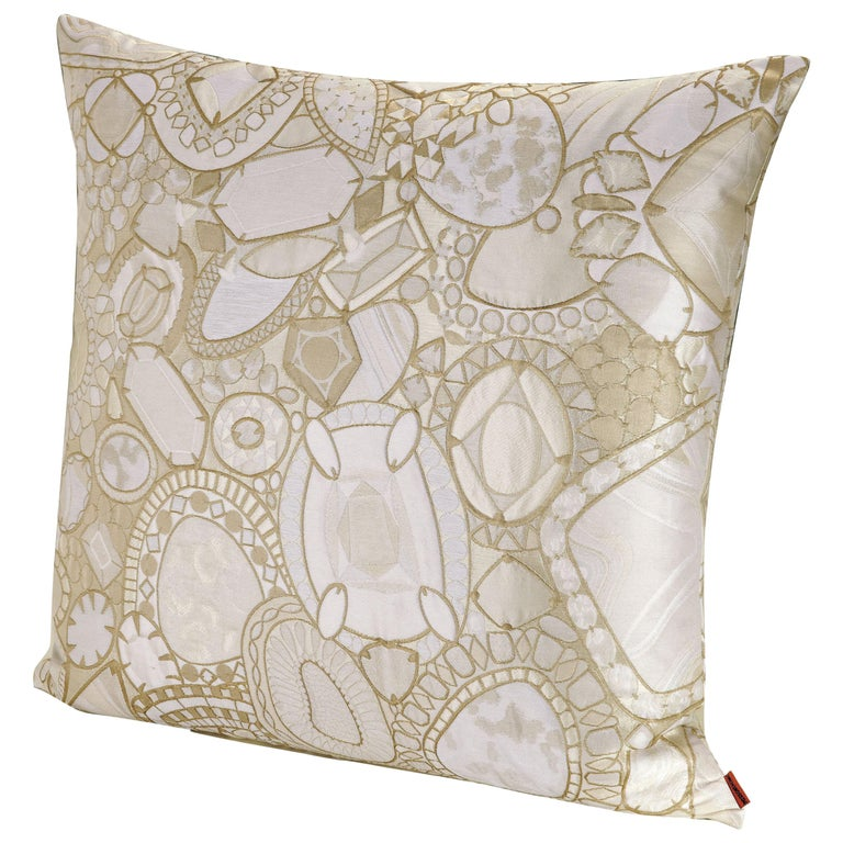 MissoniHome Pessac Cushion in Gold and Ivory Jewel Print For Sale