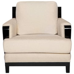 Astaire Lounge Chair I in Cream and Lacquered Ebony by Badgley Mischka Home
