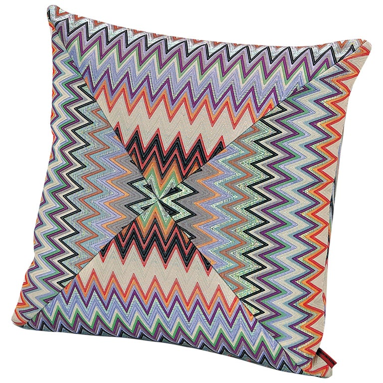 MissoniHome Masuleh PW Cushion in Multicolor Chevron Print