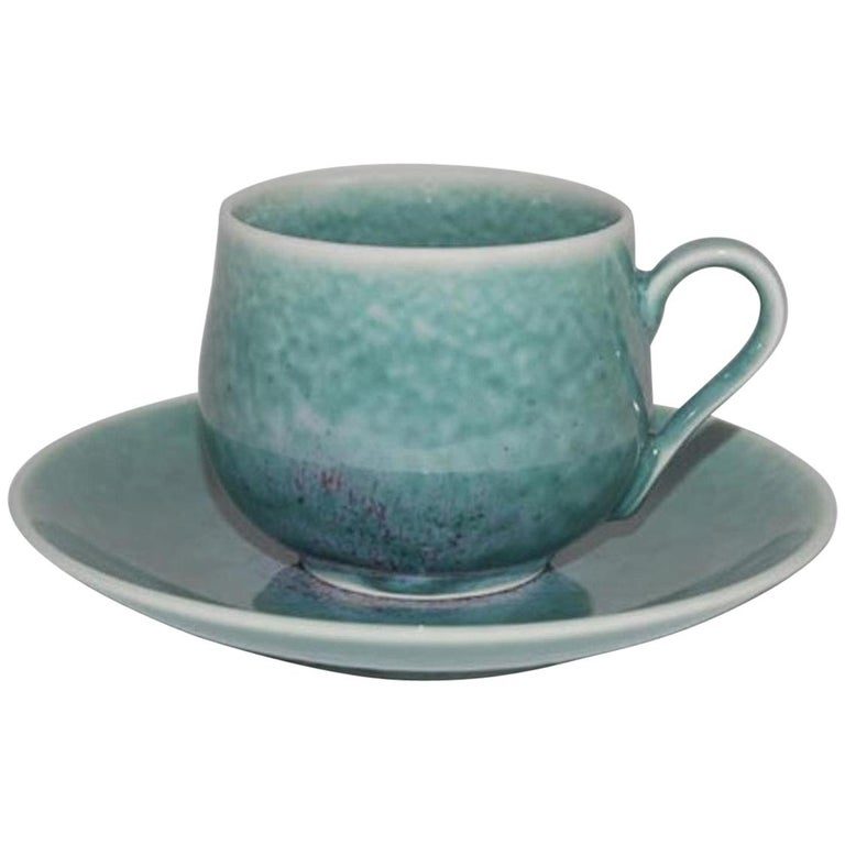 Japanese Hand-Glazed Turquoise Porcelain Cup and Saucer by Master Artist