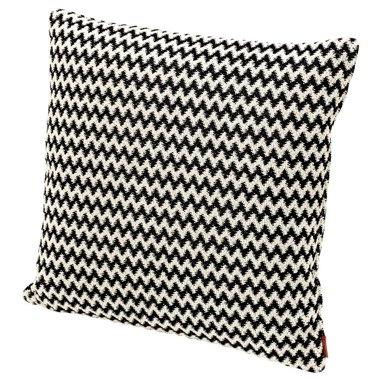 MissoniHome Varsavia Cushion in Black and White Chevron Pattern For Sale