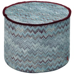 MissoniHome Thailand Cylinder Pouf in Blue and Cranberry Wave Pattern