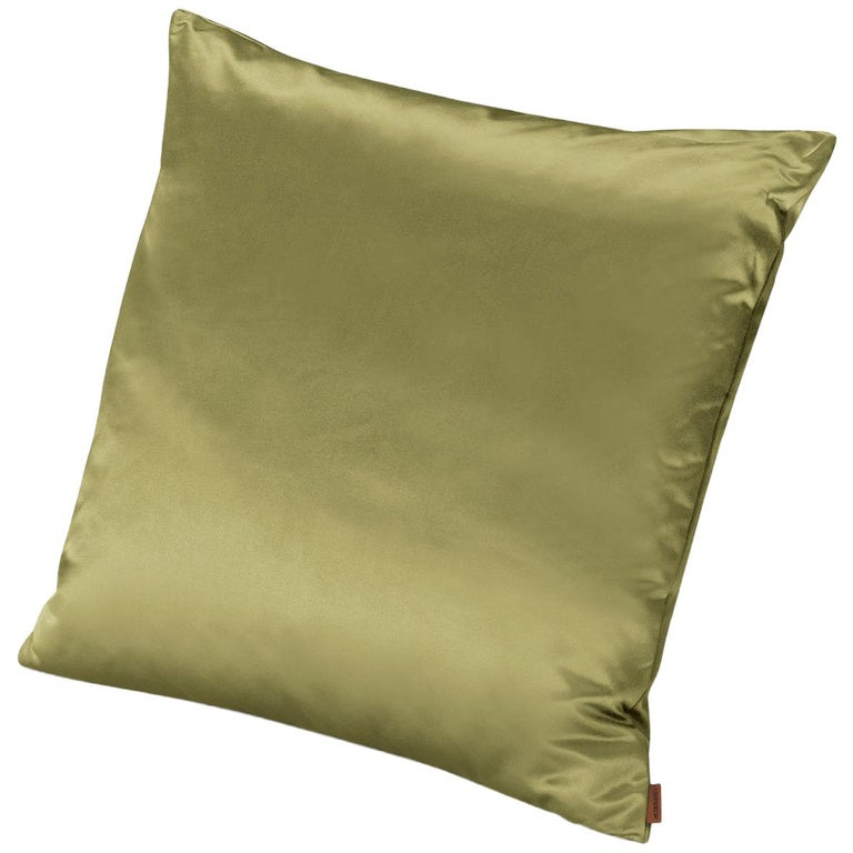 MissoniHome Mono Cushion in Lime Green Cotton and Silk For Sale