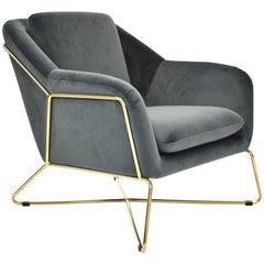 Elegant SOHO Lounge Chair in Velvet and Gold - 21st Century