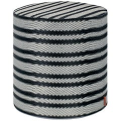 MissoniHome Prescott Tall Cylinder Pouf in Black and White Stripe Print