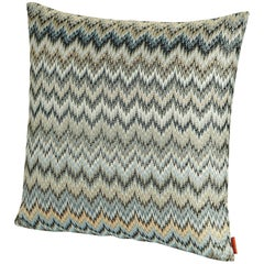 MissoniHome Plaisir Cushion in Gray and Green Chevron Print