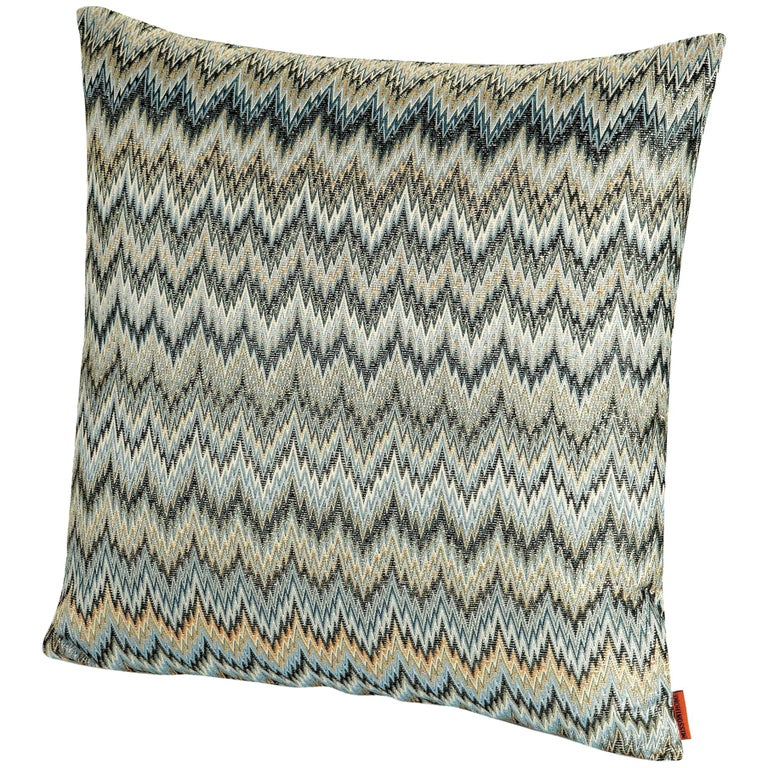MissoniHome Plaisir Cushion in Gray and Green Chevron Print For Sale