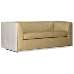 Small Monterey Sofa in Beige with Lacquered Frame by Badgley Mischka Home