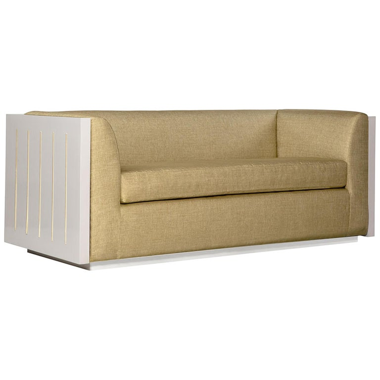 Small Monterey Sofa In Beige With Lacquered Frame By Badgley Mischka Home For