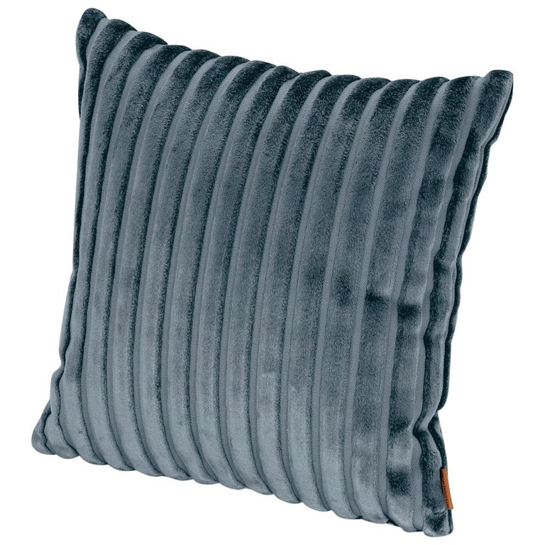 MissoniHome Coomba Cushion in Blue Striped Print Fabric For Sale