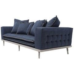 Palisades Sofa in Stone Gray and Indigo by Badgley Mischka Home