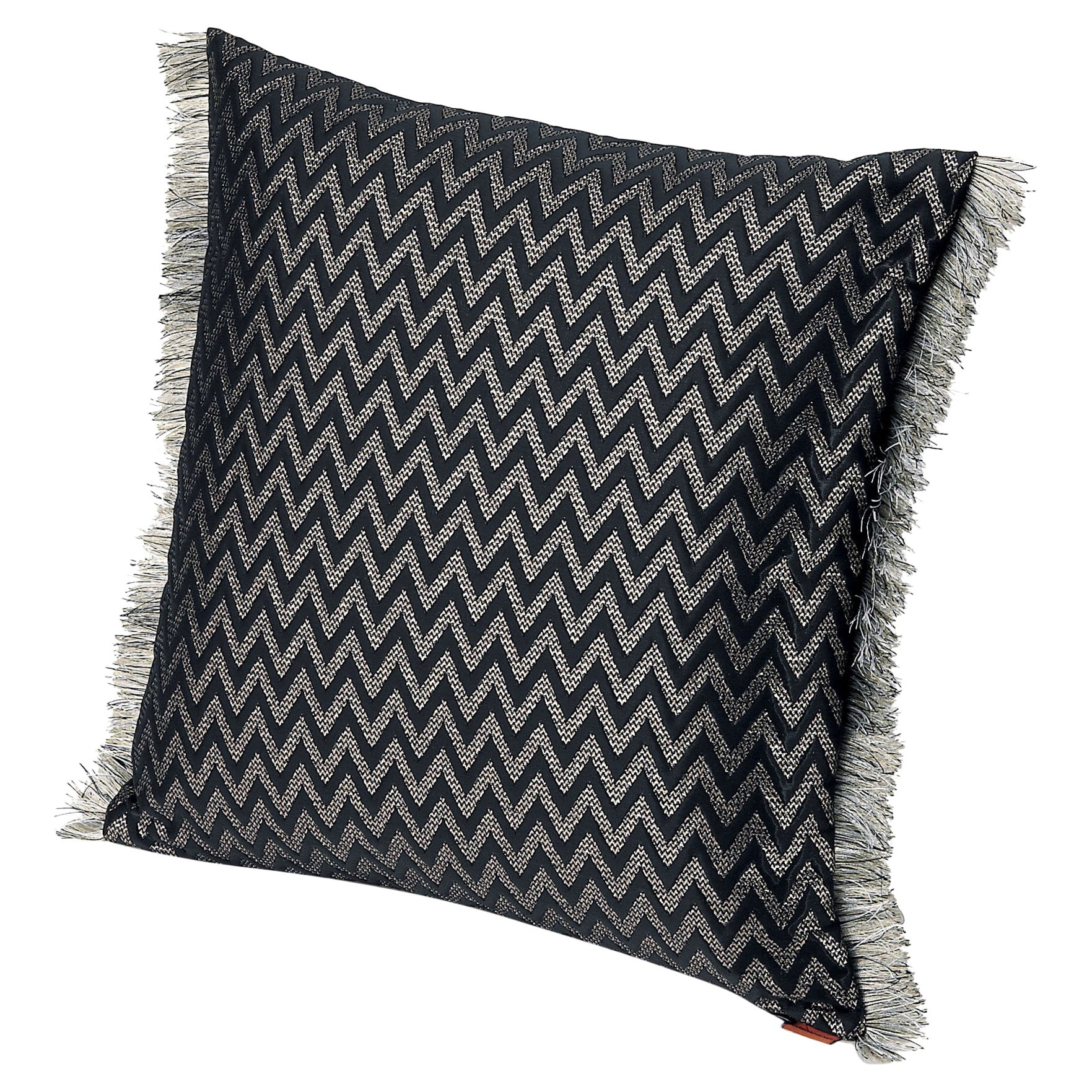 Missoni Home Stanford Cushion in Black Chevron Pattern with Gray Fringe Trim