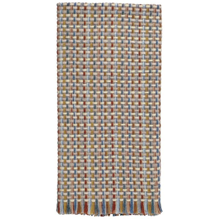 MissoniHome Jocker Throw in Multicolor & Beige Wool W/ Knit Patchwork