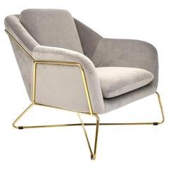 Elegant SOHO Lounge Chair in Velvet and Gold, 21st Century