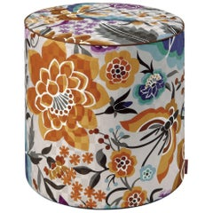 MissoniHome Samoa Tall Cylinder Pouf with Orange and Blue Floral Pattern
