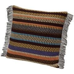 MissoniHome Volfango Cushion in Multicolor Striped Wool with Fringe Trim