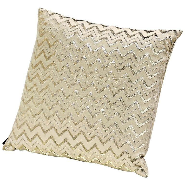 MissoniHome Leeka Cushion in Gold Chevron Pattern