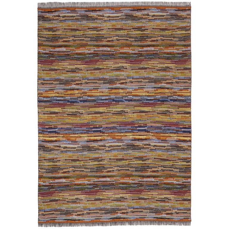 MissoniHome Venere Throw in Multi-Color Woven Wool with Knobbly Effect For Sale