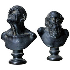 Two Early 19th Century Grand Tour Bronze Portrait Busts of Philosophers